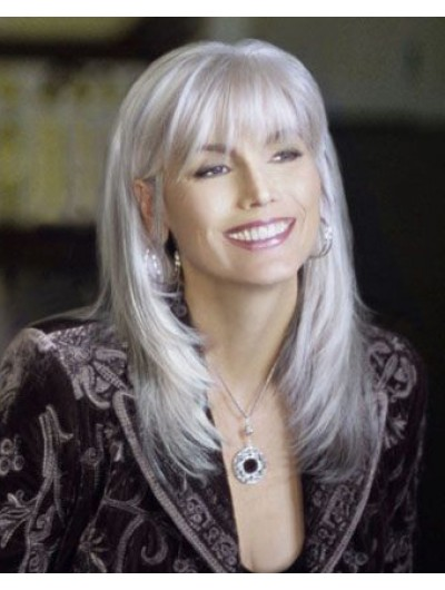 Synthetic Hair Layered Grey Wig For Older Women