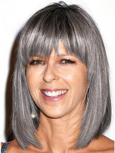 Capless With Bangs Straight Grey Wig For Older Women