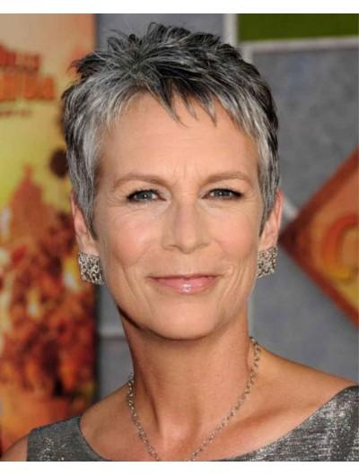 Capless Boycuts Grey Wig For Older Women
