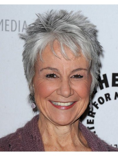 Synthetic Cropped Hair Grey Wig For Older Women