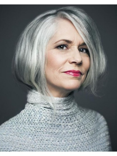 Lace Front Bobs Synthetic Hair Wavy Grey Wig