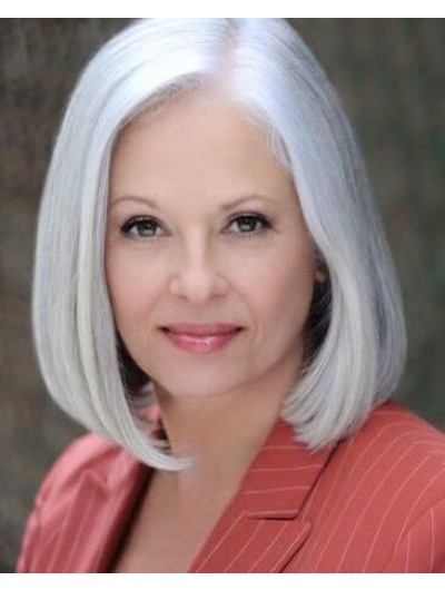 Lace Front Bobs Synthetic Hair Straight Grey Wig