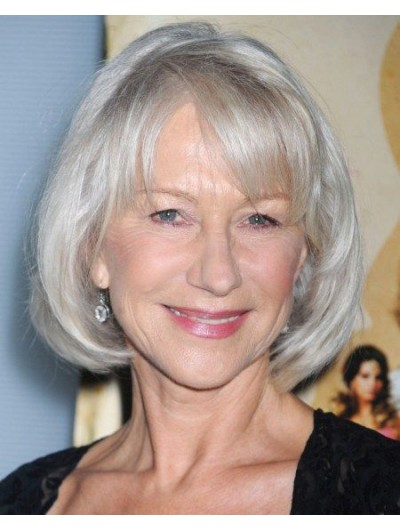 Capless Synthetic Hair Bobs Grey Wig For Older Women