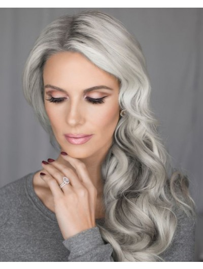 Long Synthetic Hair Wavy Grey Wig Without Bangs