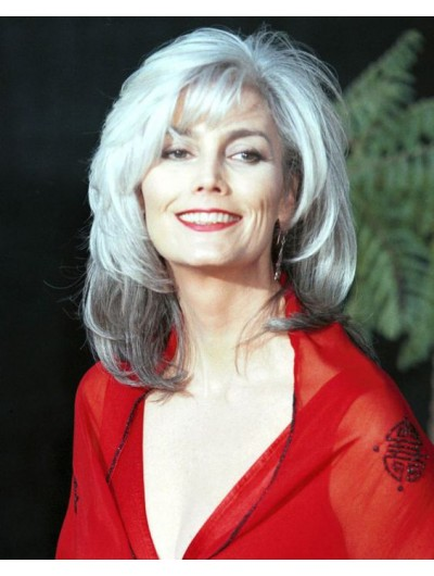 Capless Synthetic Hair Layered Grey Wig For Older Women