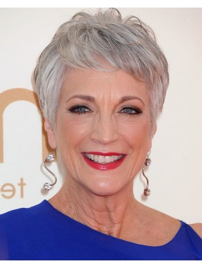 Synthetic Hair With Bangs Grey Wig For Older Women