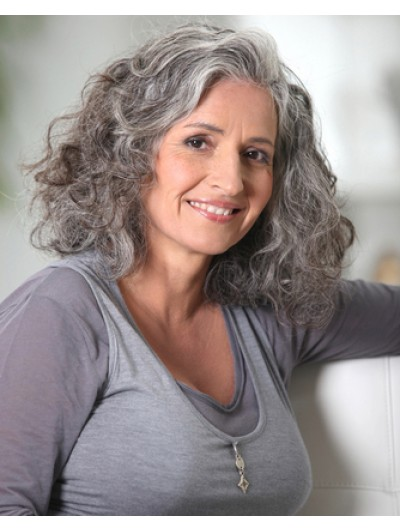 Lace Front Shoulder Length Curly Grey Wig