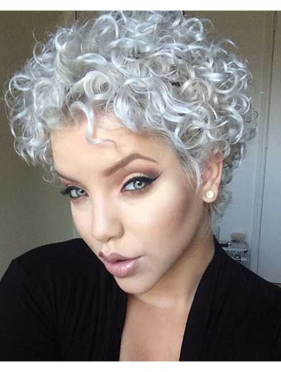 Short Synthetic Hair Curly Grey Wig Without Bangs 66ee97140fff