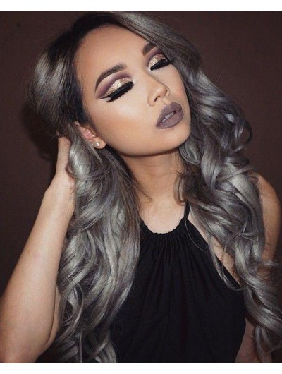 Lace Front Wavy Grey Wig Without Bangs