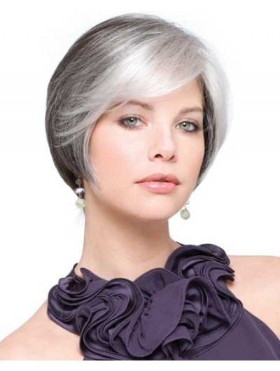 Synthetic Hair Short Wig With Bangs For Older Women