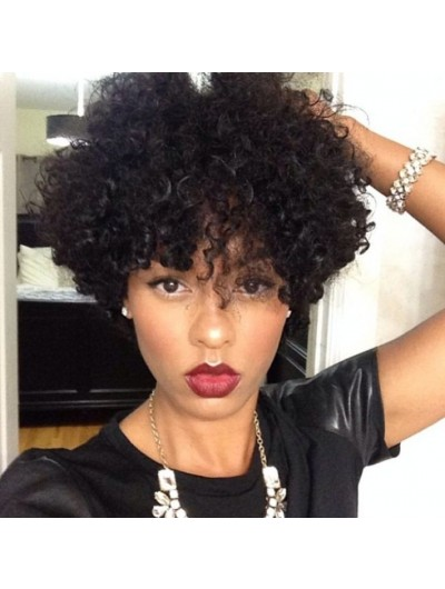 Short Black Women Curly Wigs Synthetic
