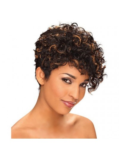 Short Curly Black and Brown mix Wig African American Wig
