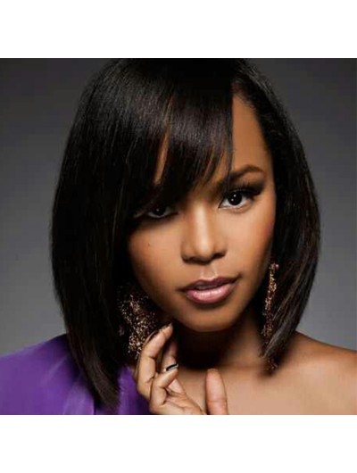 Short Human Hair Wigs Straight Bob Wig For Black Women With Bangs