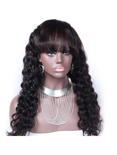 Remy Human Hair Lace Wig Loose Deep Wave With Full Bangs