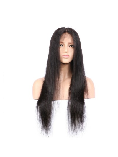 Full Lace Human Hair Wigs Straight Black Wigs With Baby Hair